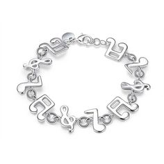 Metal Music Notes Detail Chain Bracelet (147.970 IDR) ❤ liked on Polyvore featuring jewelry, bracelets, metal jewellery, chain jewelry, metal jewelry and metal bangles