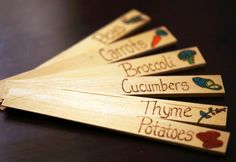 Garden markers/ wood burning~ I could do this with herbs on the porch