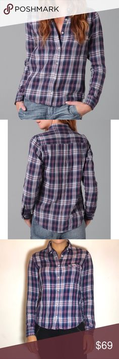 """RAG & BONE Classic Plaid Shirt Rag & Bone Classic Plaid Shirt -Size XS -Flap bust pocket and shirttail hem.  -24"""" long, measured from shoulder. -100% cotton. -Excellent condition!  NO Trades. Please make all offers through offer button. rag & bone Tops Button Down Shirts"""