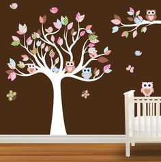 Tree Decal Nursery Wall Stickers Colorful Tree Owl Wall Decal. $89.99, via Etsy. -  or we could make it!!