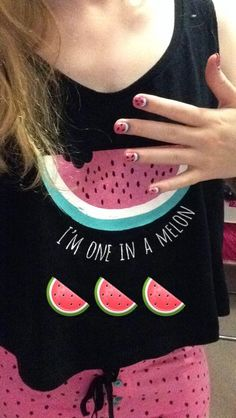Watermelon nails and PJs!