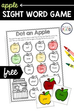 This playful apple-themed sight word game is the perfect addition to your fall literacy centers! Students will love racing to be the first to color or dot all of the sight words on their sheet! #apples #appleactivity #sightwords #fallactivity Apple Activities, Literacy Activities, Literacy Centers, Learning Sight Words, Sight Word Games, Apple Coloring, Cvc Words, Kindergarten Literacy, Word Families