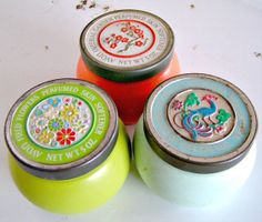 Retro Avon Container Trio. Bold & Bright by magpiemary on Etsy