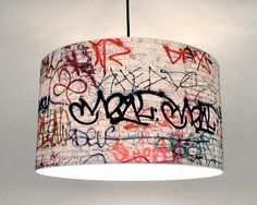 Cool DIY idea for a teenager's room/den: graffiti lampshade. Find more DIY lamp ideas and shop supplies to make your own at www.ilikethatlamp.com