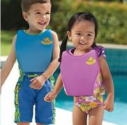 Swim Safety Gear    Memorial Day weekend kicks off the start of beach and pool weather! Get the swim gear while you can!    Here are some of our favorites from One Step Ahead:Floatation Swim Trainer, Floaties Arm Floats, Baby Spring Float Activity Center, Kid's Stay Put Water Shoes