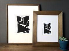 Linolschnitt Drucken  verspielte geometrische moderne von printwork