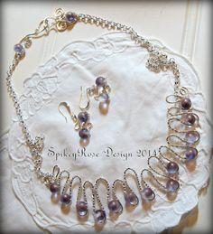 Wirework Necklace in Purple & Silver by GlendasJewelleryOz on Etsy, $46.00