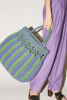 V de Vinster Mia Plastic Beach Bag in Purple/Green