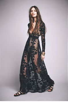 Temecula Maxi Dress | Free People Dramatic sheer net maxi with allover floral embroidered detailing.