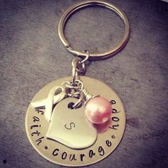 Breast Cancer stamped metal keychain by TuTuCuteStamped on Etsy, $25.00