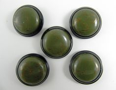 Lot of 5 Vintage 29 mm Olive-Green & Golden Threads Dome with Black Frame Plastic Buttons *** P-103 by TheTreasureBoxOrna on Etsy