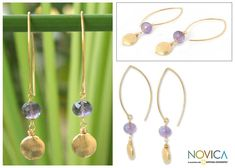 Novica Handcrafted Gold Vermeil 'Lilac Berry' Amethyst Earrings