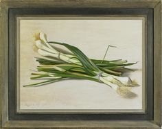 Stephen Rose (1960- ), Spring onions, oil on panel, 33.3 x 45.4 cm. Reproduction 20th century British artist's frame with painted finish