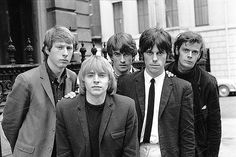 13th April 1965: British rhythm & blues group The Yardbirds, from left to right; Chris Dreja (rhythm guitar), Keith Relf (vocals, harmonica), Jim McCarty (drums), Jeff Beck (lead guitar) and Paul, or 'Sam', Samwell-Smith (bass guitar). They plan to tour with the Kinks at the end of April and hope that their next single, 'Heartful Of Soul' out in June, is as successful as their current hit 'For Your Love', recorded with previous lead guitarist, Eric Clapton. (Photo by John Pratt/Keystone…