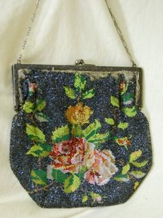 Antique Depression Multi Color Floral Glass Micro Bead Beaded Purse Evening Bag | eBay