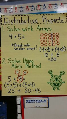 Distributive property anchor chart for grade: students illustrate general principles and properties of operations. Multiplication Anchor Charts, Math Charts, Math Anchor Charts, Division Anchor Chart, 4th Grade Multiplication, Maths Tricks, Multiplication Strategies, Math Fractions, 3rd Grade Classroom