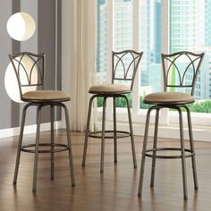 24 in. Adjustable Bar Stool with Double Cross-Back (Set of 3), Brown