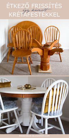 Manzard9: Műhelytitkok a krétafestékről Chalk Paint Furniture, Furniture Makeover, Decoupage, Dining Chairs, Stool, Crafts, Diy, Painting, Home Decor
