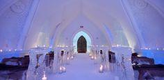Get married in an ice chapel ....Hotel de Glace — Quebec City's Ice Hotel  For 2014 and 2015, the furs are from fabulous Quebec's Fourrures Grenier (www.fourruresgrenier.ca) / Pour 2014 et 2015, les fourrures de la chapelle sont fournies par l'entreprise québécoise de renom Fourrures Grenier (www.fourruresgrenier.ca)
