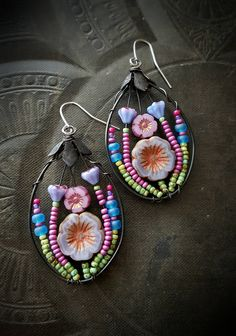 Flowers, Wire Wrapped, Hoops, Blossom Series, Purple, Lotus, Artisan Made, Summer, Spring, Glass, Organic, Rustic, Unique, Beaded Earrings by YuccaBloom on Etsy