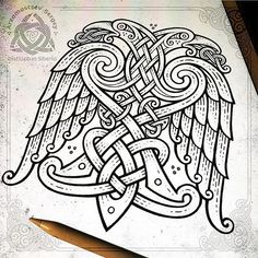 Two-headed ornamental eagle 🦅 (iPad pro + apple pencil + Procreate app = sketch, workflow) Орёл орнаментальный Rune Tattoo, Norse Tattoo, Tattoo On, Celtic Tattoos, Viking Tattoos, Wiccan Tattoos, Inca Tattoo, Indian Tattoos, Viking Symbols And Meanings