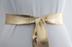 Gold Leather Narrow Obi Belt  Leather 2 inch Belt  by LoveYaaYaa