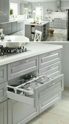 Love this color gray for the island only, and pure white cabinets for the rest with white granite/quartz