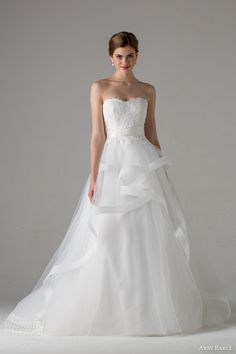 Anne Barge Bridal Fall 2015 | emma strapless a line wedding dress horsehair tiered skirt lace bodice