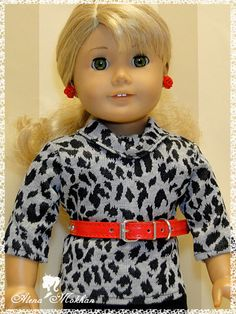 Big City Style Cowl Animal Print Doll Shirt by BestDollBoutique, $9.99.   This awesome shirt is made of a soft animal print gray cotton knit fabric. It features a cowl collar, 3/4 length sleeves and Velcro closure on the back.