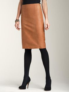 "Love the leather skirt. Also, I love that Talbots has ""plus-sized"" models! (There's one showing this skirt in black.)"