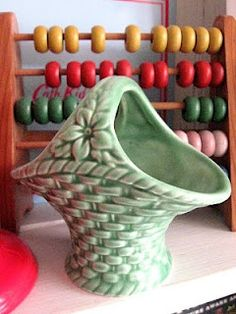 This vintage pottery basket is sweet!
