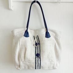 Navy Blue Stripe Grainsack Handbag Vintage by BeyondFranceLTD