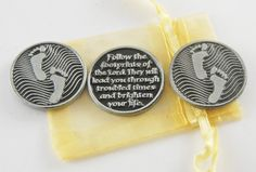 Set of 3 Footprints Pocket Tokens with Organza by CourageInStone