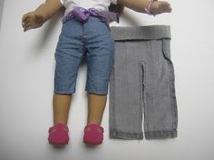 Jeans cut off  into doll jeans:  Just a note, this scrap is cut off from a girls size XL or about a size 6 jean leg.  This is also a stretchy jean, but this should work just as well with regular blue jeans.