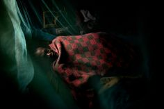 Dominic Nahr. KENYA, Rift Valley,Tinderet, 2009. A plucker in his bed, surrounded by a mosquito net early in the morning before heading to the tea fields at the Tinderet Tea Estate, Kenya.