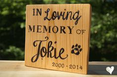 Custom Wood Burned Cedar Pet Memorial Table Art