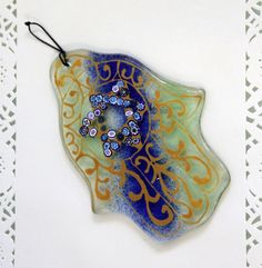 Jewish Judaica Home Blessing  Hamsa Blue and by virtulyglass