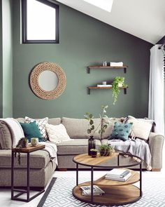 If you want to create a calming space to relax in, GO GREEN! 🌿It symbolises nature and boosts tranquility!AAAAND breathe out. Sage Living Room, Living Room Update, New Living Room, Home And Living, Living Room Decor Green Walls, Living Room Colors, Interior Design Living Room, Living Room Designs, Green Lounge
