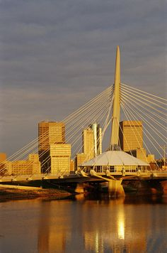 ✮ Skyline With Esplanade Riel, over the Red River, Winnipeg Manitoba. O Canada, Canada Travel, The Beautiful Country, Beautiful Places, Places To See, Places Ive Been, Western Canada, Ontario, Red River