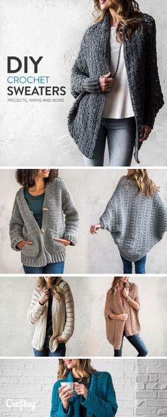 Crochet sweater kits - pattern & yarn mailed right to you!