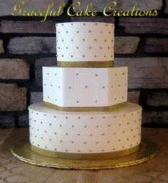 Elegant Ivory Butter Cream Wedding Cake with Gold accents | Flickr