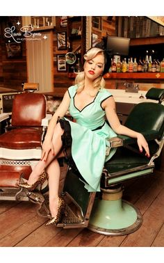Pinup Couture - Heidi Dress in Cool Mint with Black Trim | Pinup Girl Clothing