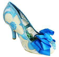 Irregular Choice Ascot Women's Blue Flower High Heel Court Shoes With Bow New