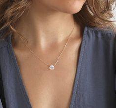 Tiny moonstone Necklace // Stone Necklace Moonstone Moon