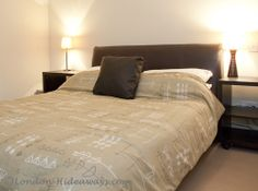 Double bed in master bedroom Furnished Apartments, Rental Apartments, London Apartment, Holiday Apartments, Double Beds, One Bedroom, Furniture, Home Decor, Full Beds