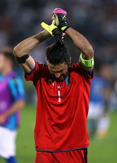 #EURO2016 Gianluigi Buffon of Italy looks dejected as he applauds the supporters at fulltime following the UEFA Euro 2016 Quarter Final match between Germany...