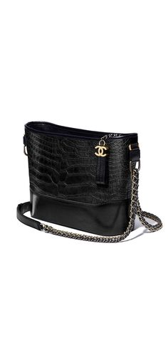 CHANEL's GABRIELLE hobo bag, alligator, lambskin, silver-tone & gold-tone metal-black - CHANEL
