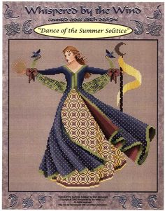 Dance of the Summer Solstice Cross Stitch Pattern - Part of the Dance of the Seasons set from Mari McDonald. Arms flung wide, this dancer welcomes the warmth and abundance of summer. Stitch count is 155w by 160h.  Each packet contains a color picture of the finished product, as well as several pages of computer-printed pattern and a list of floss colors you will need. These are not kits. They do not include fabric or floss.              SEW-411 - Cross Stitch Pattern Only - $9.00