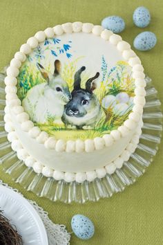 """Easter Bunnies Wafer Paper Cake Topper 8"""" $6.00 http://www.fancyflours.com/product/Easter-Bunnies-Wafer-Paper-Cake-Topper/easter-party-theme"""