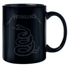 """Tazza in ceramica nera """"Black - Don't tread on me"""" dei #Metallica. Capienza: 0,3 l circa."""